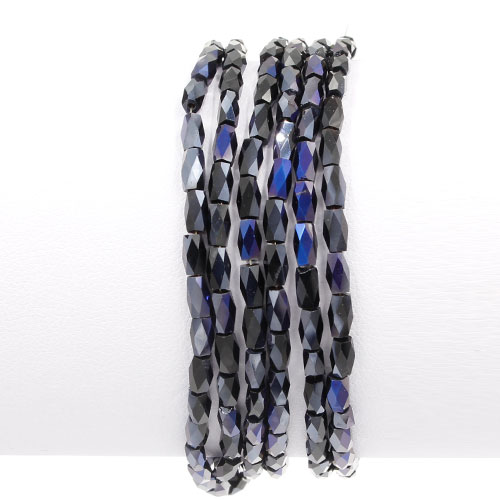 cuboid crystal beads, 4x4x8mm, black and purple light, 60pcs per strand