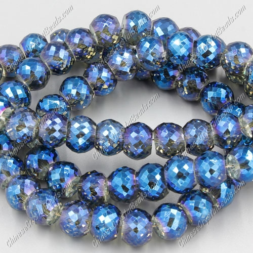 12pcs Rondelle Drum Faceted Crystal Beads,9x12mm, hole:1.5mm, Magic Blue