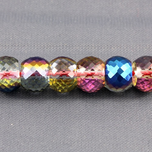 12pcs Rondelle Drum Faceted Crystal Beads,9x12mm, hole:1.5mm, blue and purple light