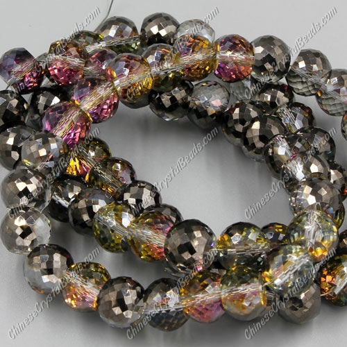 12pcs Rondelle Drum Faceted Crystal Beads,9x12mm, hole:1.5mm, hematite and purple light