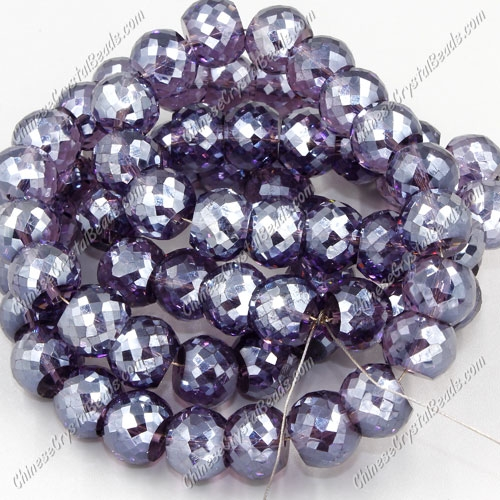 12pcs Rondelle Drum Faceted Crystal Beads,9x12mm, hole:1.5mm, violet satin
