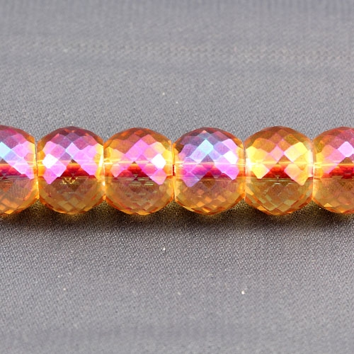 12pcs Rondelle Drum Faceted Crystal Beads,9x12mm, hole:1.5mm, orange light