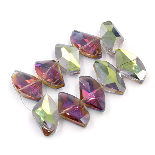 Chinese Crystal galactic Pendant, green and purple light, 14x24mm, 10pcs