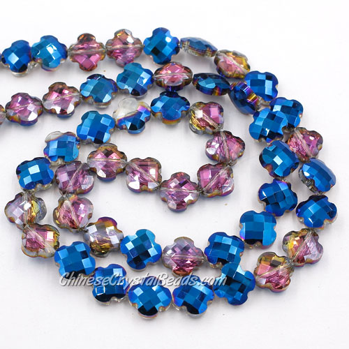 11x11mm Crystal faceted lantern beads, blue and purple light, 20Pcs