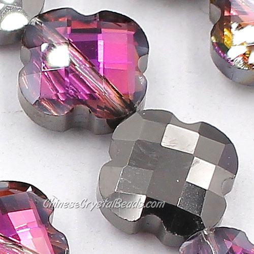 11x11mm Crystal faceted lantern beads,gunmetal and purple light, 20Pcs