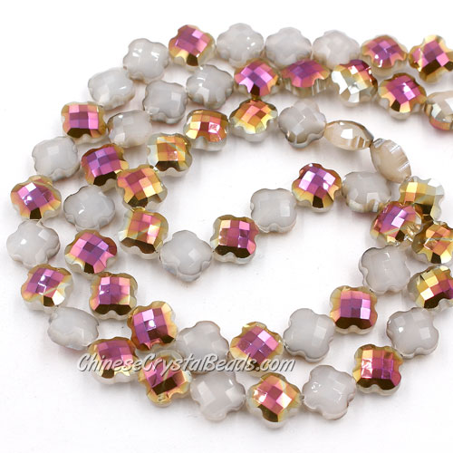 11x11mm Crystal faceted lantern beads, white jade and purple, 20Pcs