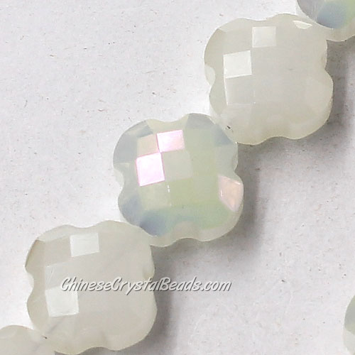 11x11mm Crystal faceted lantern beads, white jade and yellow light, 20pcs