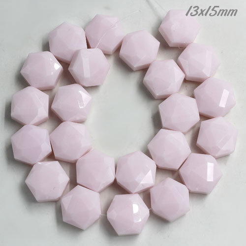 13x15mm Crystal Faceted Hexagon Beads, opaque pink, 1 Pc