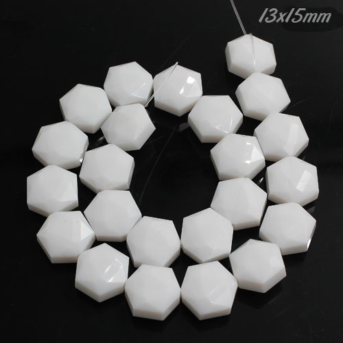 13x15mm Crystal Faceted Hexagon Beads, opaque white, 1 Pc