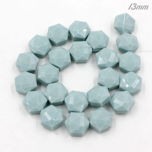 13x15mm Crystal Faceted Hexagon Beads, opaque seagreen, 1 Pc