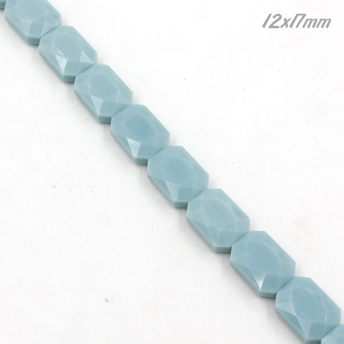 12x17mm Flat Rectangle faceted crystal beads, opaque seagreen, 1 Pc
