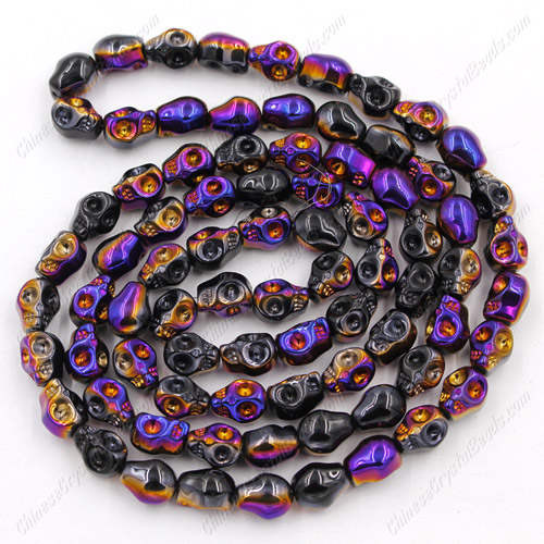 Glass Crystal skull - 8x10mm skull bead - black purple - 30 beads per strand - AA quality