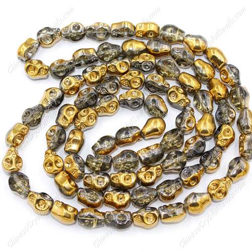 Glass Crystal skull - 8x10mm skull bead - half gold - 30 beads per strand - AA quality