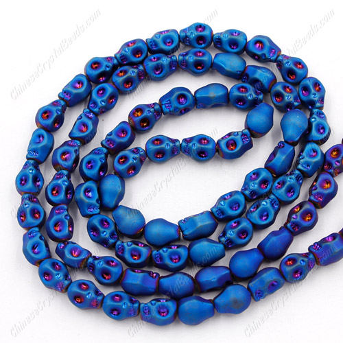 Glass Crystal skull - 8x10mm skull bead - matte blue - 30 beads per strand - AA quality