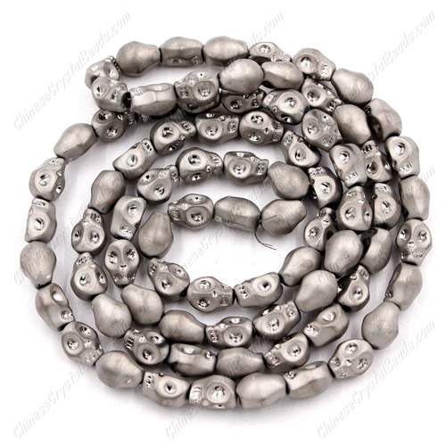Glass Crystal skull - 8x10mm skull bead - matte silver- 30 beads per strand - AA quality