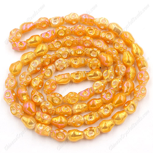 Glass Crystal skull - 8x10mm skull bead - opaque orange light- 30 beads per strand - AA quality