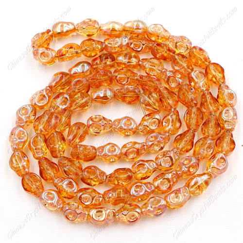Glass Crystal skull - 8x10mm skull bead - orange light- 30 beads per strand - AA quality