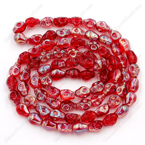 Glass Crystal skull - 8x10mm skull bead - red - 30 beads per strand - AA quality