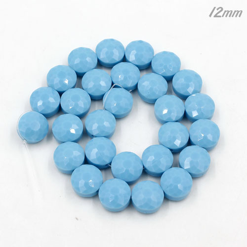 12mm sunflower faceted crystal beads, opaque turquoise, 1 Pc