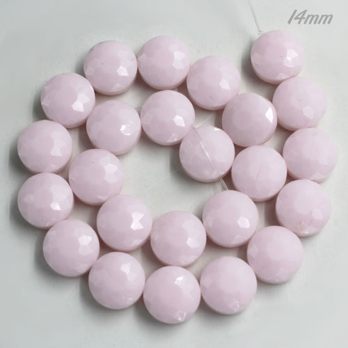 14mm sunflower faceted crystal beads, opaque light pink, 1 Pc