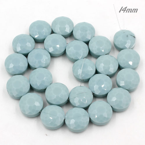14mm sunflower faceted crystal beads, opaque seagreen, 1 Pc
