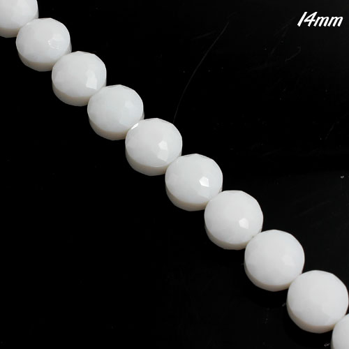 14mm sunflower faceted crystal beads, opaque white, 1 Pc