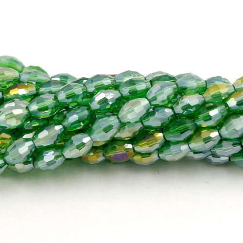 6x9mm 70Pcs Chinese Barrel Shaped crystal beads, Fern green AB