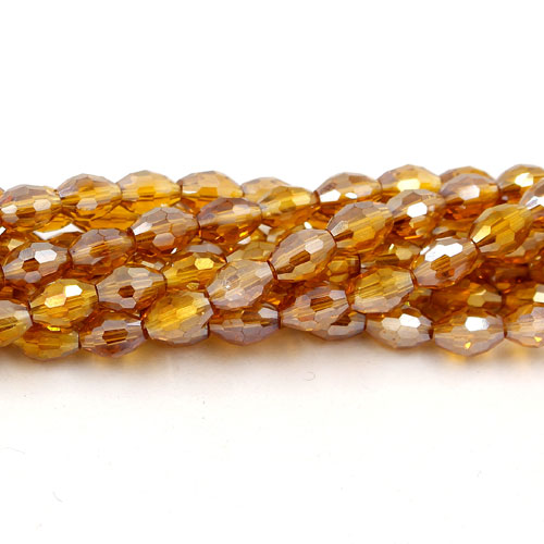 6x9mm 70Pcs Chinese Barrel Shaped crystal beads, amber AB
