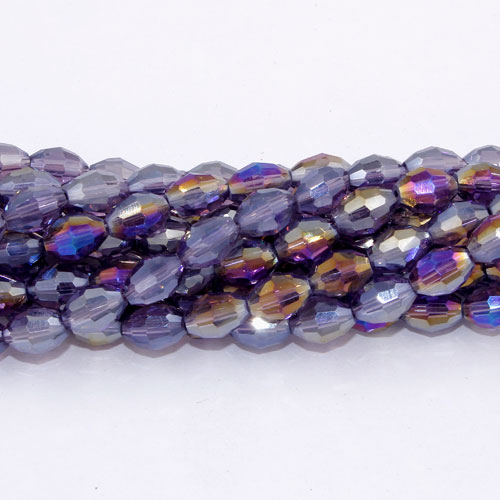 6x9mm 70Pcs Chinese Barrel Shaped crystal beads, violet AB