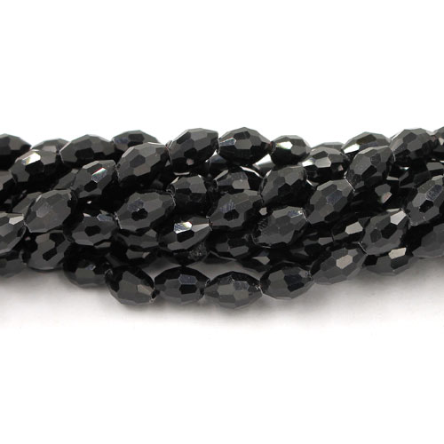 6x9mm 70Pcs Chinese Barrel Shaped crystal beads, black
