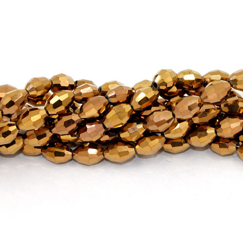 6x9mm 70Pcs Chinese Barrel Shaped crystal beads, copper light