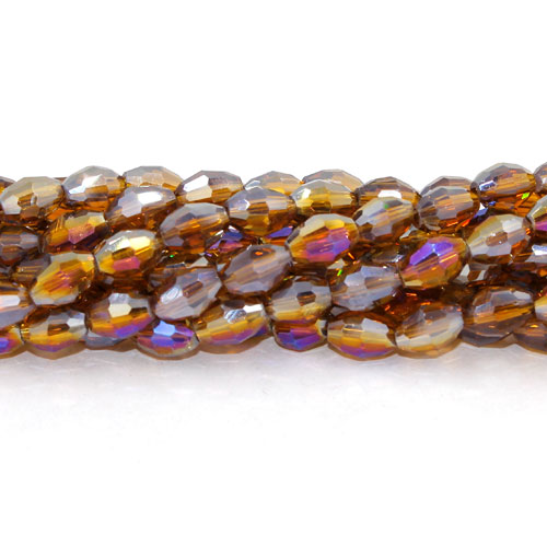 6x9mm 70Pcs Chinese Barrel Shaped crystal beads, dark amber AB
