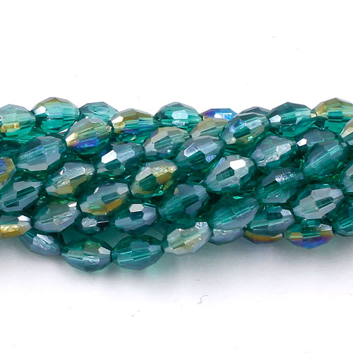 6x9mm 70Pcs Chinese Barrel Shaped crystal beads, emerald AB