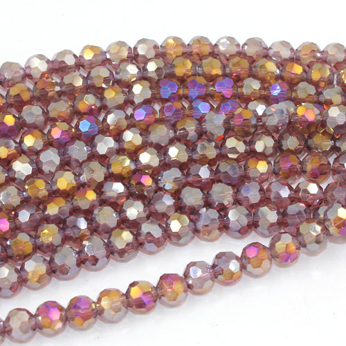 Chinese Crystal 6mm Round Bead Strand, Amethyst AB , about 50 beads