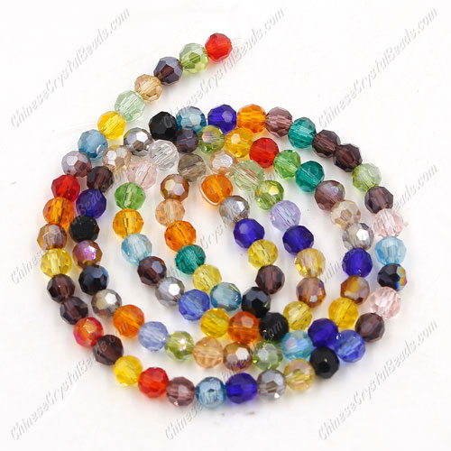 Chinese Crystal Round Strand, 4mm, Multi Color, about 100 beads