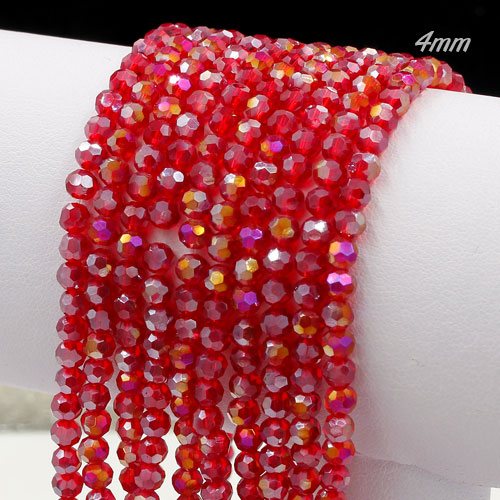 Chinese Crystal 4mm Long Round Bead Strand,siam AB, about 100 beads