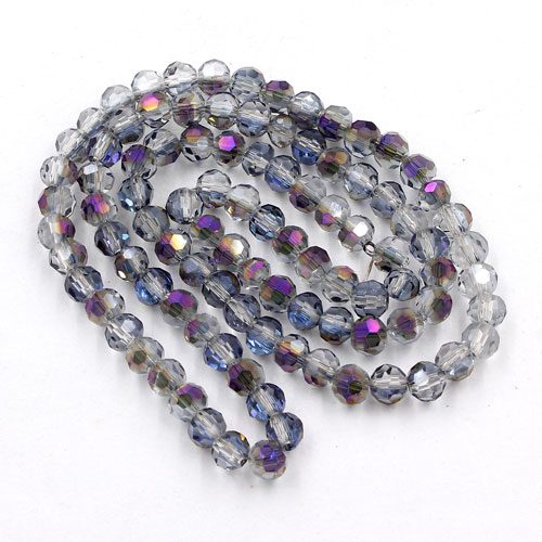 Chinese Crystal 4mm Long Round Bead Strand, half purple light, about 100 beads