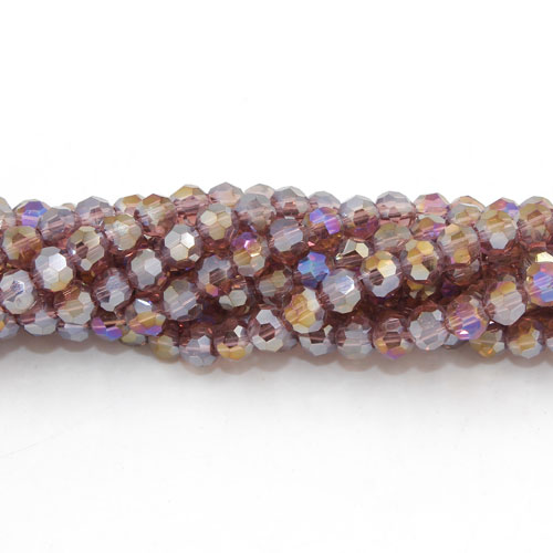 Chinese Crystal 4mm Round Bead Strand, Amethyst AB, about 100 beads