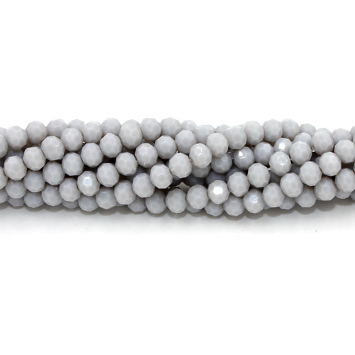 Crystal round bead strand, 4mm, opaque lt gray, about 100pcs