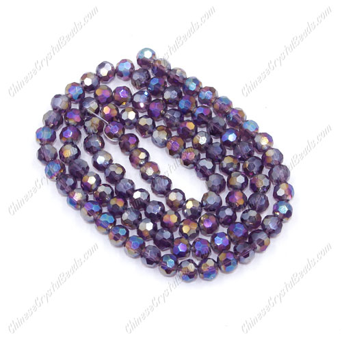 Chinese Crystal 4mm Round Bead Strand, Violet AB, about 100 beads
