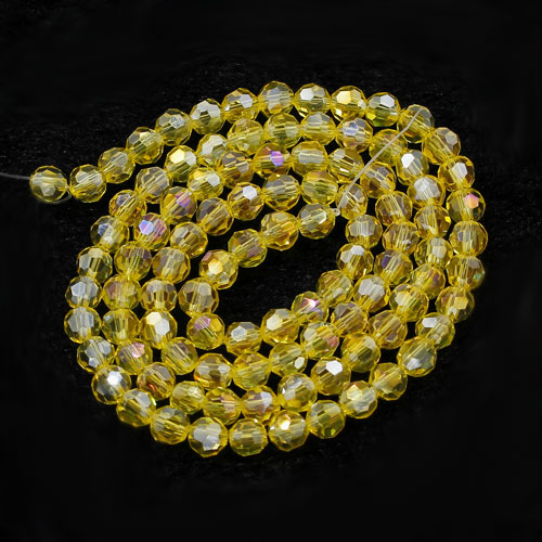 Chinese Crystal 4mmRound Bead Strand, lemon AB, 98Pcs