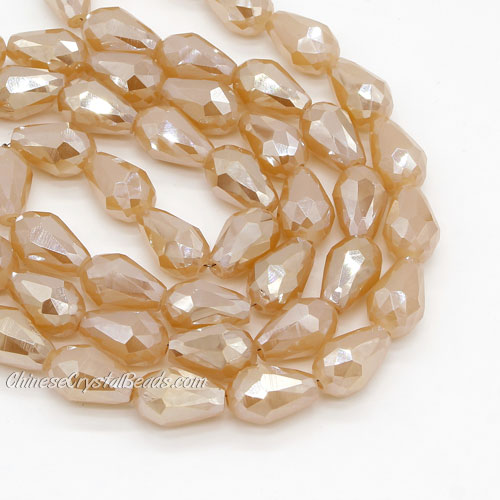 20Pcs 10x15mm Chinese Crystal Teardrop Bead strand, opaque golden shadow