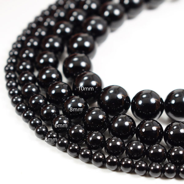 Black Agate Beads, Polished 4mm 6mm 8mm 10mm 12mm 14mm 16mm Genuine Natural Stones, 15 Inch