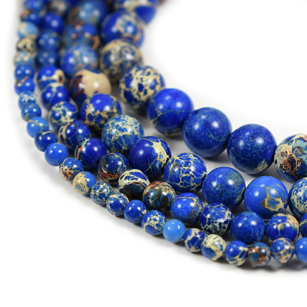 Blue Impression Jasper Beads 4m 6mm 8mm 10mm 12mm Round Blue Imperial Impression Stone, 15 Inch