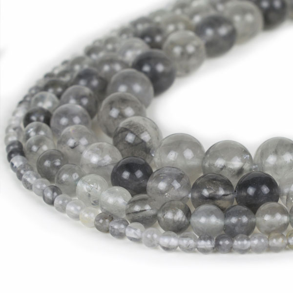 Natural Cloud Quartz Beads 4mm 6mm 8mm 10mm 12mm Loose Gemstone Round 15 Inch