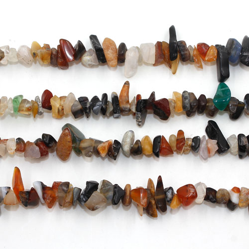 Colorful agate Gemstone Chips, 5mm-10mm, Hole:Approx 0.8mm, Length:Approx 30 Inch