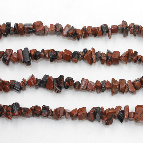 Mahogany Obsidian Gemstone Chips, 3mm to 8mm, Hole:Approx 0.8mm, Length:Approx 35 Inch