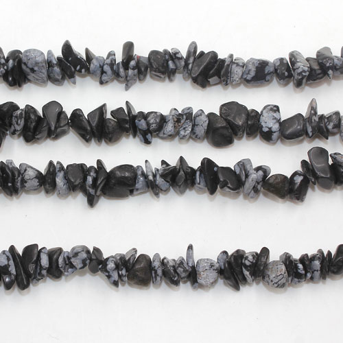 Snowflake Obsidian Bead Gemstone Chips, 2x7mm-6x10mm, Hole:Approx 0.8mm, Length:Approx 30 Inch