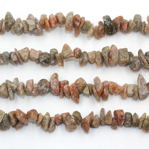 China Unakite chip beads, 5mm to 10mm, Hole:1mm, Length:Approx 35 Inch