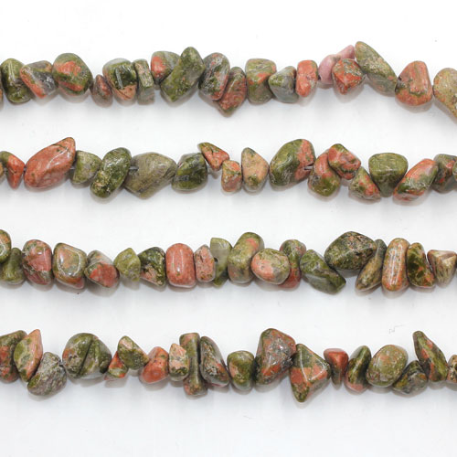 Unakite chip, Gemstone Chips,  4mm to 10mm, Hole:1mm, Length:Approx 35 Inch